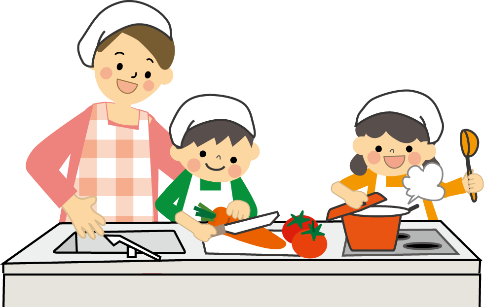 children cooking in the kitchen with an adult